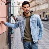 SIMWOOD 2019 nueva llegada chaqueta de moda de los hombres de algodón Slim Fit ropa de marca Vintage abrigo hombre Plus tamaño camionero 180090