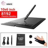 Ugee nuevo M708 Digital tabletas de dibujo tableta gráfica 10*6 pulgadas 8192 sensibilidad a la presión con pluma inalámbrica libre negro guantes