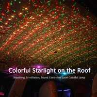 Coche atmósfera ambiente fluye estrella DJ luz RGB colorido de música de sonido Control de voz lámpara de láser remoto foco USB LED de luz