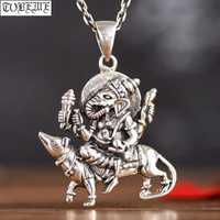 100% hecho a mano 925 Plata Tailandia Ganesh colgante Vintage plata elefante nariz riqueza Buda colgante de buena suerte