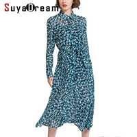 De las mujeres vestido de seda 100% seda con cinturón de cintura largo vestido corto 2019 Primavera Verano estampado de lunares vestidos azul