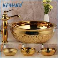 KEMAIDI sólido latón cuenca grifos de oro de lujo de cerámica baño grifo de baño lavabo baño combinar mezclador libre drenaje