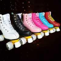 Japy geneniu cuero patines doble línea patines 6 colores mujer señora adulto blanco pu 4 Ruedas dos líneas Patinaje zapatos patines