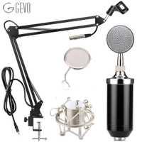 GEVO BM 8000 micrófono de condensador Studio de grabación con cable Pc Mic con NB-35 brazo de suspensión Pop filtro y montaje de choque