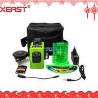 Soporte técnico de Xeast XE-61A 12 líneas 3D verde nivel láser 360-nivelación Horizontal y Vertical cruz láser nivel rayo láser de línea nivel láser