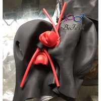 Hot! Latex Nouveau Anatomique 3D masque w oreilles Bonnets w bouche rouge à lèvres face à gaine LONGUE langue nez tube heavy duty 2 taille NET yeux