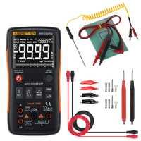 ANENG Q1 multímetro Digital de verdadero botón 9999 cuenta con analógico Bar gráfico AC/tensión DC amperímetro actual Ohm Auto/Manual XJ36