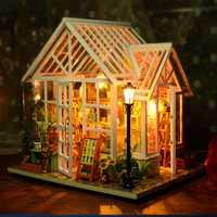 Casa de muñecas DIY casas de madera miniaturas para muebles para casa de muñecas Kit casas de muñecas juguetes para niños regalo Sosa invernadero