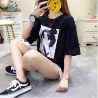 Camiseta de las nuevas mujeres del verano versión coreana de la suelta señoras de gran tamaño que basa la camisa Harajuku estilo avatar de las mujeres camisa