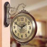 Reloj de pared de 16 pulgadas, clásico europeo 360, diseño antiguo, cuarzo Ultra silencioso, aleación de madera sólida, reloj de doble cara, sin tic-tac