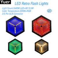 4 unids/lote 3x60 W LED Retro Flash luces RGB equipos de DJ luz estroboscópica Bola de discoteca sonido fiesta Color música baile luces de escenario efecto de luz
