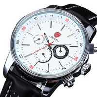 Pacific Angel SHARK Reloj Deportivo Blanco Acero Inoxidable Movimiento de Cuarzo 6 manos calendario caja cuero etiqueta muñeca pulsera de los hombres / SH093