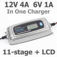 Foxsur 12 V 4A 6 V 1A 11 etapas cargador de batería inteligente, 6 V 12 V EFB agm gel húmedo coche cargador de batería con pantalla LCD y desulfatador