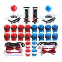 Pohiks 2 jugadores Arcade DIY Kit de 2x USB codificador + 2x Joystick + 20x LED botones para Arcade juego de PC proyecto de bricolaje