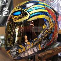 Gran venta Harley motocicleta hombres Racing casco Chieftain Full Face motocicleta casco Old law king Moto Cascos DOT aprobado
