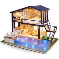 A-066 tiempo casa de muñecas DIY con muebles luz Casa de regalo juguetes creativos para niños juguete divertido inteligencia