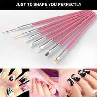 10 piezas del arte del clavo del cepillo del clavo que salpican las plumas decoraciones Set herramientas profesional pluma de la pintura del clavo cepillo de uñas UV