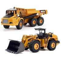 2 piezas 1:50 construcción juguetes del coche de transporte articulado Bulldozer camión modelo de coche juguetes para los niños