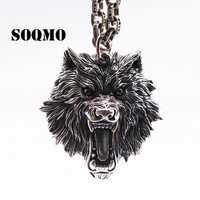 SOQMO Vintage colgante 100% Real de la joyería de la plata esterlina 925 de las mujeres de los hombres lobo cabeza COLLAR COLGANTE SQM059