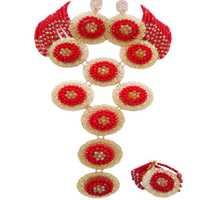 De moda rojo y oro Champagne AB boda cuentas pendientes de pulsera de collar de Nigeria conjunto de joyas para mujeres 9PHK06