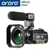Cámara de vídeo Ordro HDV-AC3 4 K 24 millones de píxeles con lente ancha y micrófono y capucha