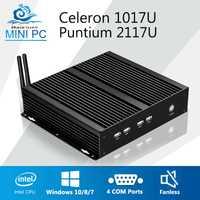 Mini PC sin ventilador PC Industrial 4 * COM Mini computadora Pentium 2117U Celeron 1007U RS232 HDMI VGA WIFI USB de la computadora