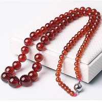 Dropshipping collar de piedra Natural granate naranja collar de cadena de torre de cuentas redondas para mujer joyería de moda