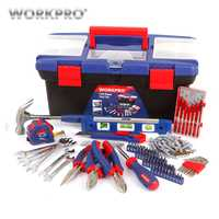 WORKPRO 170 Unid hogar herramienta casa herramientas caja de herramientas de plástico conjunto