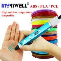 Myriwell 1,75mm ABS/PLA/PCL DIY 3D pluma pantalla LCD USB carga 3D impresora pluma 1,75mm filamento regalo creativo del juguete para los cabritos diseño