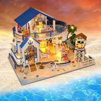DIY casa de muñecas LED mar villa en miniatura con muebles casa de madera habitación modelo Kit regalos juguetes para niños casa de muñecas juguete