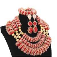 De Lujo Africana Dubai conjuntos de joyas de oro y rojo de novia de cristal joyería indio 3 capas hecho a mano bolas Nigeria las mujeres de 2018