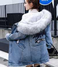 De piel de invierno parka chaqueta de Denim de mujer abrigo de invierno con capucha Chaqueta larga de las mujeres de piel sintética de alta calidad de mujer caliente chaqueta de abrigo