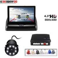 Koorinwoo Parktronic coche sensores de aparcamiento de la visión nocturna de 8 luces LED cámara de Vista trasera del coche de 4,3 pulgadas, monitor abatible Digital de pantalla