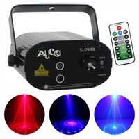 Mini 9 patrones Azul Rojo lente LED efecto de luces proyector portátil 3 W Disco DJ parte mostrar Club láser etapa iluminación SL09RB