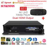 Egreat A11 3D 4 K Blu-ray HDD Media Player Bluetooth 4,0 2G/16G Android TV Box Home teatro HDR 10 2,4g/5G WiFi Dolby Atmos/DTS: X