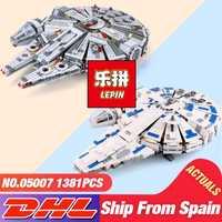 Bloques de construcción DHL LEPIN 05007 Serie Star Wars 1381pzs El Despertar de la Fuerza Millennium 75105 juguetes, modelo halcón juguetes para niños, regalos de navidad