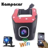 Kampacar, Mini cámara Wifi Auto Cam Wifi coche cámara grabadora de Video de registrador de la cámara de visión trasera DVR Full HD 1080 P Dashcam