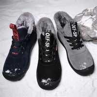 Tamaño grande 39-48 2018 botas de invierno para hombre Casual Fahsion Snow hombres botines hombres botas de cuero para hombres zapatos con piel mantener el calor