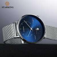 STARKING AM0269 - Reloj de pulsera automático para hombre en acero inoxidable - Lente de zafiro - Movimiento de altas alternancias 28800 - Resistente al agua 5ATM
