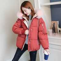 Imitación de piel de cuello chaqueta de invierno las mujeres corto Parkas Rosa Blanco chaquetas con capucha de nieve prendas