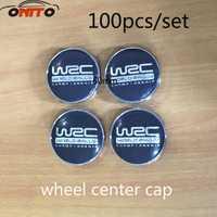 Al por mayor 100 piezas 60mm Centro de rueda Hub Caps polvo insignia de WRC enrejado negro rueda emblema