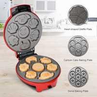 Finether Mini 3 en 1 máquina de aperitivos antiadherente de aluminio temperatura ajustable Multi-Plate Waffle Maker sartén eléctrica antiadherente EE. UU./UE