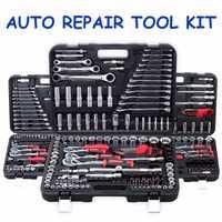 130 piezas Llave de trinquete llave inglesa 1/2 juego herramienta de reparación Socket Ratchet Wrench tornillo mano conjunto combinación kit