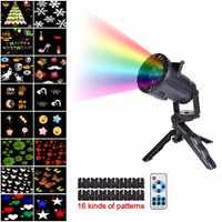16 patrones de Navidad láser copo de nieve proyector LED al aire libre luces de discoteca hogar jardín estrella Luz Decoración interior