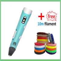 3D pluma de impresión 1,75mm ABS PLA de pantalla LCD USB de carga de 3D pluma filamento con 12 V 2A adaptador creativo de peluche de juguete de regalo para niños diseño