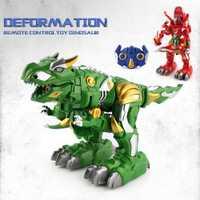 Los niños de juguete de Control remoto deformación dinosaurio Robot de juguete de Control remoto deformación Rc estroboscópica juguetes para mascotas