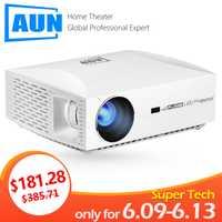 AUN projecteur Full HD résolution F30, 1920x1080 P. Mise à niveau 6500 Lumens, projecteur LED pour Home cinéma. Projecteur 3D, Comparable 4 K