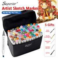 Superior 40/60/80/218 colores doble cabeza marcadores pluma Lisa diseño marcador animación Marcadores del bosquejo para dibujar artista