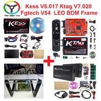 Maestro V2.47 en rojo de la UE Kess V2 Kess V5.017 ilimitado ecus Chip herramienta de sintonización K etiqueta V7.020 V2.23 con LED BDM marco ecus herramienta