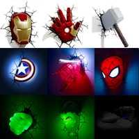 Marvel vengadores LED lámpara de pared sala de estar dormitorio 3D la luz creativa Ironman para Spiderman Hulk Deadpool capitán americano terremoto